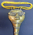 Naga necklace with bronze ornament, beads, monkey hair