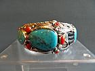 Zuni Indian sterling silver bracelet - 76 grams