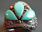 Zuni Indian sterling silver bracelet - 84 grams