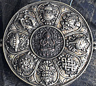 Large Tibetan Gau with Chenrezig; copper,silver,relics