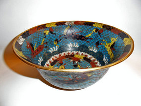 Chinese cloisonne bowl with fish and horses