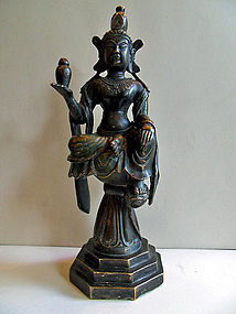 Chinese bronze sitting Guanyin statue - Ming dynasty