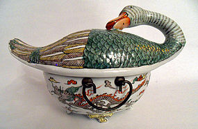 Guangxu famille verte porcelain duck tureen - China
