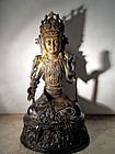 Chinese Ming bronze Guanyin statue