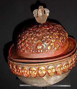 Rock crystal skull cup with a coral Ganesha - Himalayas