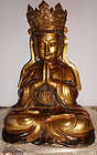 Gilt bronze crowned Buddha, China