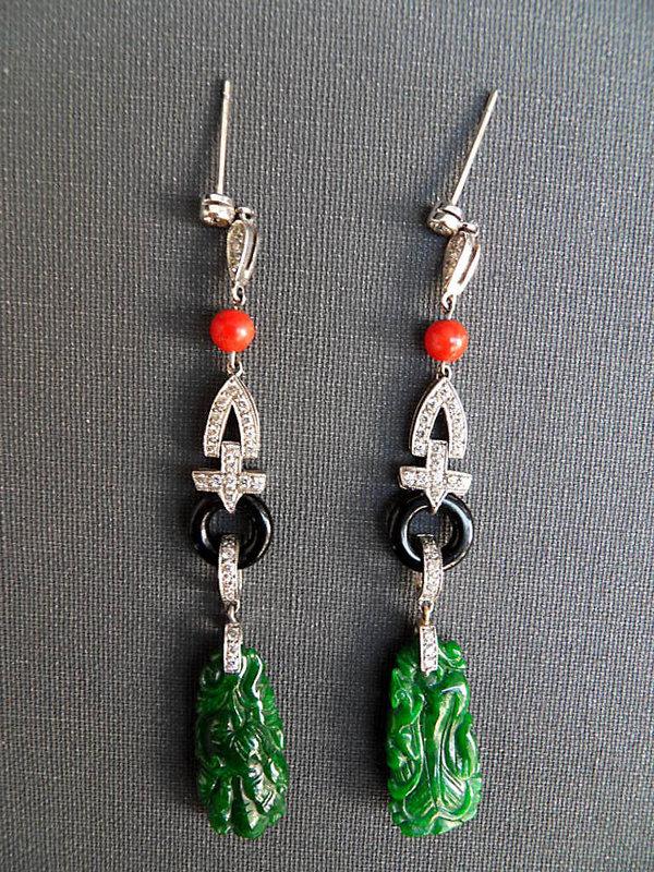 White gold earrings with diamonds, jade, onyx