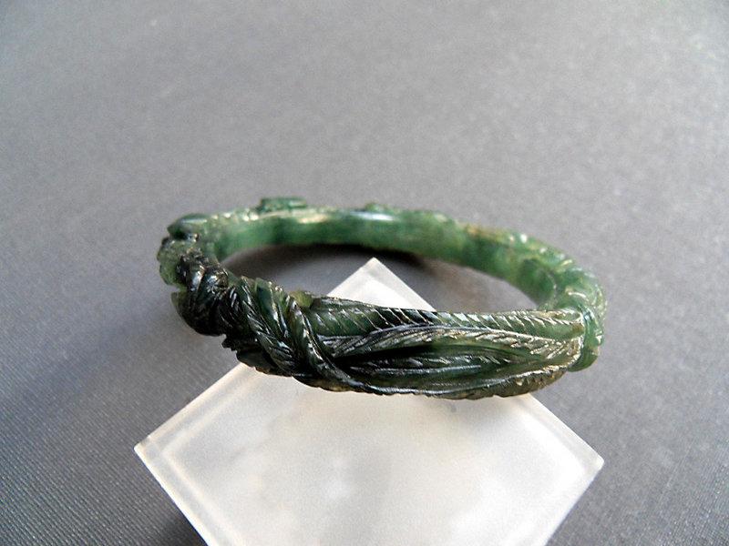 Burmese carved dark green jade bangle