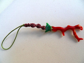 Chinese pendant with red coral and jade