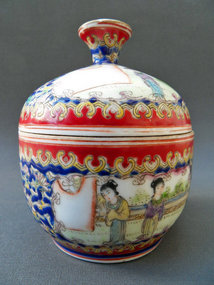 Chinese porcelain bowl with lid and ladies in a garden