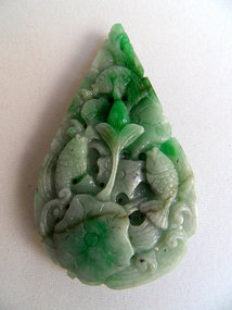 Chinese jadeite pendant with fishes and lotus flowers