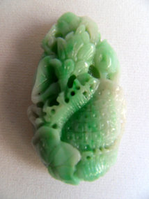 Chinese jade pendant - basket, fish and lotus