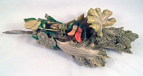 A Chinese carved bone napa cabbage