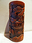 Chinese bamboo brush pot carved with people in a boat