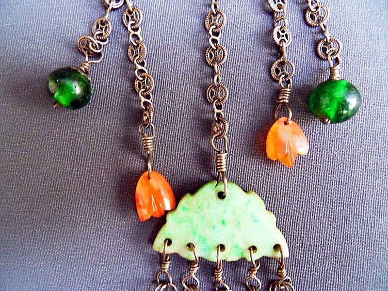 Chinese silver chatelaine with pieces of jade