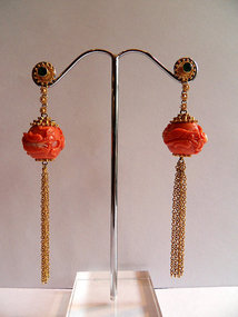 Blood coral dragon earrings,gold,diamonds,ruby,emerald