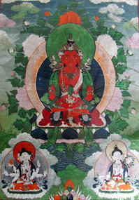 Mongolian thangka painting of Amitayus (Amithaba)