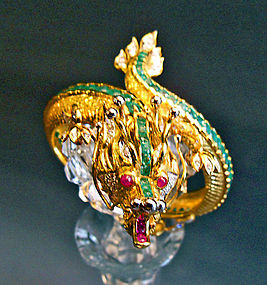 Gold dragon bracelet with ruby, emerald, diamond