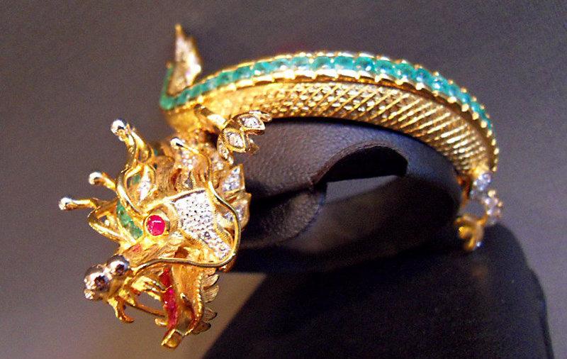 Gold dragon bangle with ruby, emerald, diamond