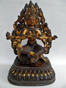 Gilt bronze statue of the protective goddess Mahamayuri