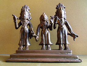 Small bronze Indian statue of Rama, Sita and Lakshman