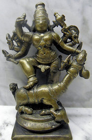 Indian bronze statue of Mahishasuramardini
