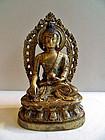 Tibetan gilt bronze statue of Buddha Shakyamuni