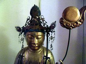 Japanese carved wood statue of Nikko Bosatsu - 1826