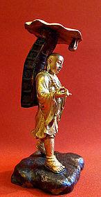 Gilt bronze statue of Kukai or Konghai - Japan
