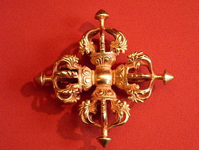 Tibetan gilt copper vishvavajra or double dorje