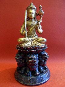Bronze Gokei Monju Bosatsu on a shishi throne - Japan