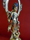 Sino-Tibetan gilt bronze standing Avalokiteshvara