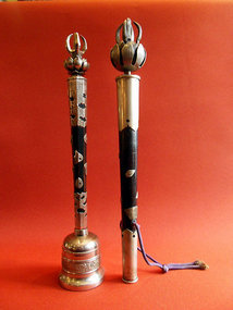 Japanese Buddhist bell and scepter - metal and wood