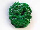 Chinese intense green jadeite Pixiu pendant or toggle