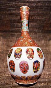 Chinese porcelain vase with opera masks and flowers