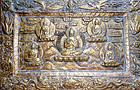 Tibetan copper repousse plaque with 5 Dhyani Buddhas