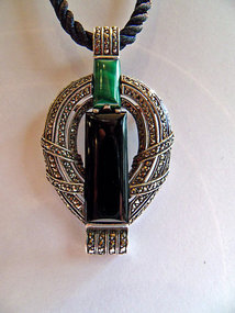 Silver pendant / brooch - onyx, malachite, marcasite