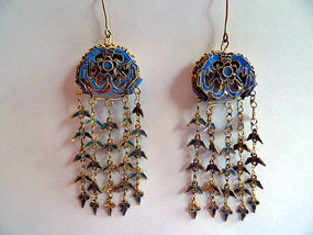 Gilt silver kingfisher feather earrings with a phoenix