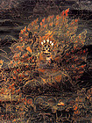 Tibetan black ground thangka of the dharmapala Begtse