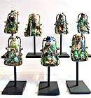 Seven silver enamel figures of lohans - China