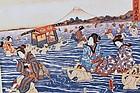 Japanese woodblock print - Utagawa - Ohigawa river