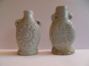 Two small decorated Qingbai porcelain snuff bottles