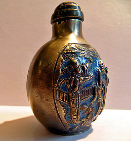 Chinese paktong/silver enameled erotic snuff bottle