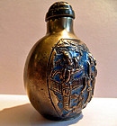 Chinese paktong/silver enameled erotic snuff bottle