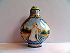 Chinese enamel snuff bottle with two ladies - late Qing