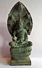 Khmer bronze Naga Buddha statue, Bayon period
