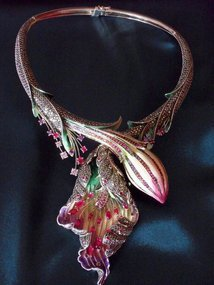Silver marcasite necklace of a ladyslipper orchid