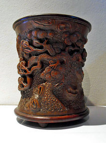 Chinese bamboo brush pot with herons in a pine forest