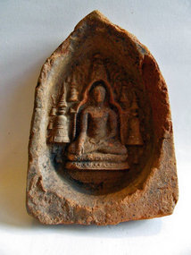 Votive plaque with Buddha and stupas - Pagan