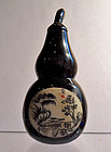 Horn snuff bottle with landscape painting